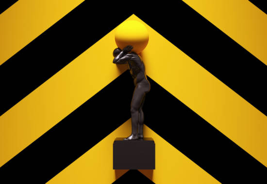 Yellow Black Atlas Statue Holding up the Celestial Heavens with