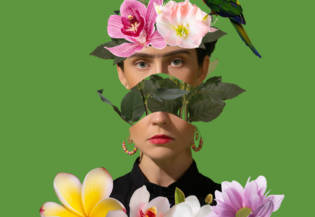 Female head with flowers and parrot on abstract color summer background. Modern design. Contemporary pop artwork, collage. Concept of summertime, vacation, resort, mood, beach, travel and sea